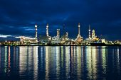 Oil refinery at twilight Chao Phraya river Thailand