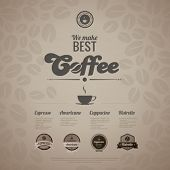 Coffee menu poster vector design template in retro style. Vintage labels included. Editable.