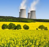 stock photo of condensation  - Nuclear power plant in spring landscape - JPG