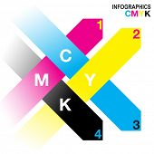 Interwoven arrow Infographic design in CMYK colour scheme. EPS10 vector file with simple gradients