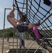 SAN DIEGO, CALIFORNIA - JUNE 15: Participants at the fitness challenge Alpha Warrior competition on June 15, 2013 in San Diego, California. The course provides 30 obstacles requiring extreme fitness.