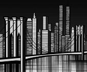 Vector illustration of Brooklyn bridge in New York