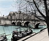 Vector illustration of Paris- Ile de la Cite - Pont neuf (hand drawing)