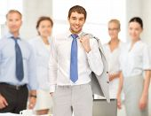 picture of happy and smiling businessman in office