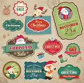 Kerstmis stickers, gift tags & koop icon
