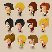 People Women Isometric Set. Vector Illustrator