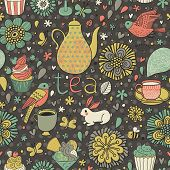 Tasty bright background. Tea concept card with cups, cupcakes, rabbit, birds, butterflies and flowers. Seamless pattern can be used for wallpapers, pattern fills, web page backgrounds,surface textures