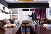 stock photo of summary  - Bored business training at office - JPG