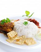 image of malaysian food  - Nasi lemak traditional malaysian hot and spicy rice dish - JPG
