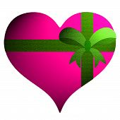 Pink Heart  With Green Ribbon On White Background.
