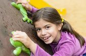 pic of toothless smile  - Little girl on a climbing wall in a park - JPG