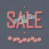 Sale coupon. Template with textured background and percents tags. Raster version, vector file availa