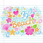 I Love the Beach Tropical Summer Vacation Sketchy Notebook Doodles with Hibiscus Flower, Flip-Flops,