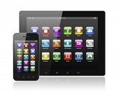 Tablet pc and smart phone with icons