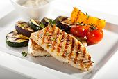 stock photo of bass fish  - Grilled Fish Fillet with BBQ Vegetables - JPG