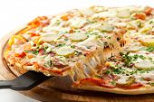 image of cucumber slice  - Pizza with Ham - JPG