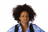 Sceptic Afro American Woman