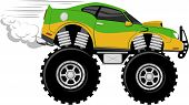 stock photo of monster-truck  - monstertruck race car 4x4 cartoon isolated on white background - JPG