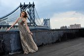 Fashion model posing sexy wearing long evening dress on rooftop location