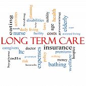 stock photo of policy  - Long Term Care Word Cloud Concept with great terms such as insurance policy costs elderly age and more - JPG