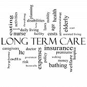 Long Term Care Word Cloud Concept In Black And White