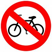 stock photo of traffic rules  - Vector sign no bicycle isolated on white background - JPG