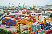 stock photo of nautical equipment  - Singapore commercial port  - JPG