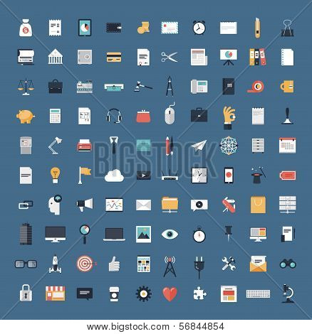 Business And Finance Flat Icons Big Set poster