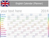 2014 English Planner-2 Calendar with Horizontal Months