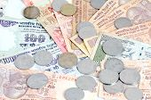 stock photo of indian currency  - Indoor Shoot of Indian currency rupees and coins - JPG