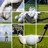 A collage of Golf images showing detail shots on the golf field