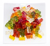 Heap Of Gummi Bears On A Plate