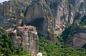 Meteora Rocks And Monastery