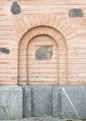 Old Brick Wall With Arch Imitation.