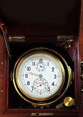 foto of chronometer  - Marine chronometer mounted in gimbals with a mahogany box - JPG