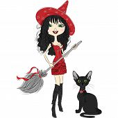 Vector Cheerful Beautiful Girl Dressed As A Witch With A Broom And Black Cat