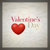 Vector retro Valentine's Day greeting card design template with wrinkled paper background. Elements