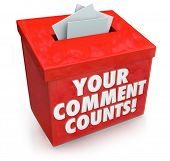 Your Comment Counts words on a red suggestion box to illustrate the value and importance of feedback, opinions, suggestions and brainstorming ideas