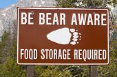 Be Bear Aware - food storage required sign
