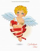 Vintage Valentine's day card with Cupid