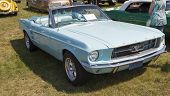 1967 Aqua Blue Ford Mustang Convertible Side View