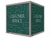 stock photo of rep  - Customer Service Word Cloud Concept on a 3D cube Blackboard with great terms such as call center help staff rep and more - JPG