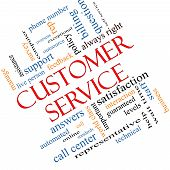 Customer Service Word Cloud Concept Angled