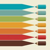 Creative infographics background with colored pencils.