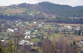foto of zakarpattia  - Beautiful landscape of picturesque  village in the valley of Carpathian mountains - JPG
