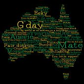 stock photo of slang  - Australia Map Made From Australian Slang Words In Vector Format - JPG