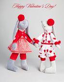 Soft toy rabbit. Valentine's card