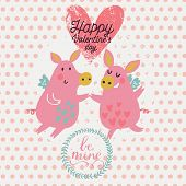 Funny cartoon piglets on romantic Valentines day card in vector