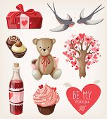 image of swallow  - Set of romantic items for valentine day - JPG