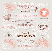 Valentine's Day and Wedding Set. Labels, Frames, Ornaments and Decorative Elements. Banner, Ribbon,